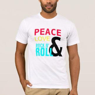 平和、愛、及び、石N',ロール Tシャツ