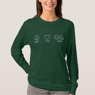 平和、愛、双生児(長袖) Tシャツ