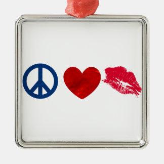 平和、愛、口紅のキス メタルオーナメント