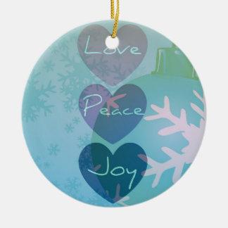 平和、愛、喜びのハートのオーナメント セラミックオーナメント