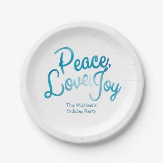 平和、愛、喜び、モダンな休日 ペーパープレート