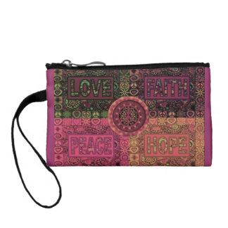 平和、愛、希望、信頼の硬貨の財布