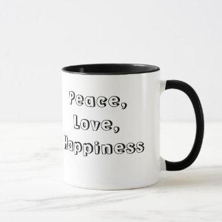 平和、愛、幸福のマグ マグカップ