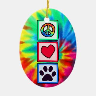 平和、愛、犬; Pawprint セラミックオーナメント