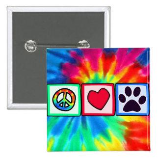 平和、愛、犬; Pawprint 5.1cm 正方形バッジ