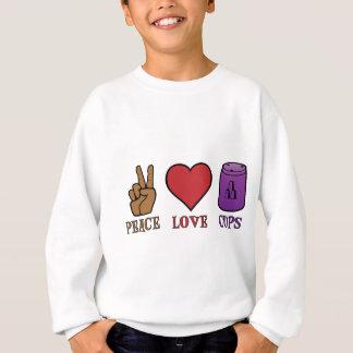 平和、愛、紫色コップ スウェットシャツ