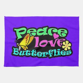 平和、愛、蝶; レトロ キッチンタオル