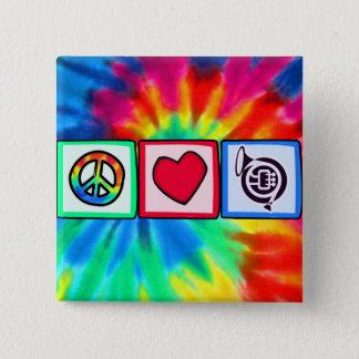 平和、愛、角 5.1CM 正方形バッジ