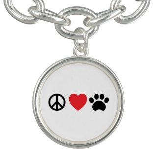 平和、愛、足のチャームブレスレット チャームブレス