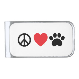 平和、愛、足のマネークリップ シルバー マネークリップ