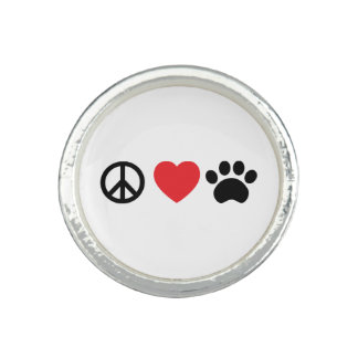 平和、愛、足のリング 指輪