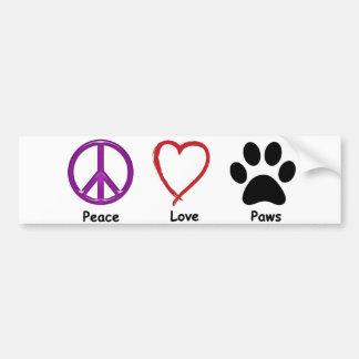 平和、愛、足。 すべてのIt'aはペット恋人ほしいです バンパーステッカー
