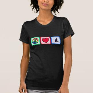 平和、愛、雪のスキー Tシャツ