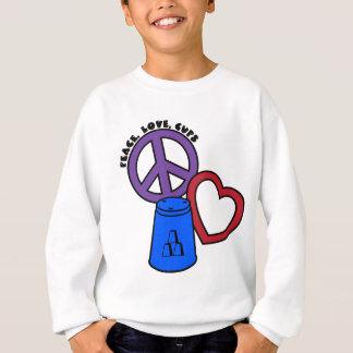 平和、愛、青数々のなコップ スウェットシャツ