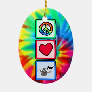 平和、愛、音楽; 絞り染め セラミックオーナメント