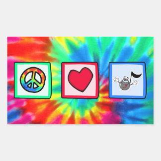 平和、愛、音楽; 絞り染め 長方形シール