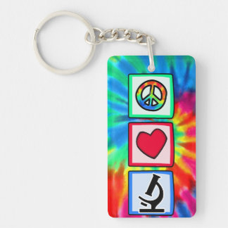 平和、愛、顕微鏡 キーホルダー