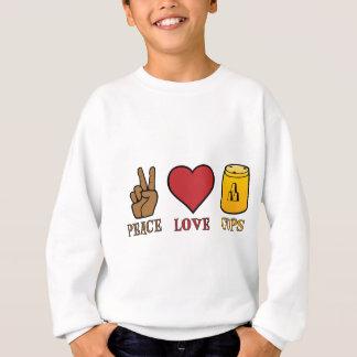 平和、愛、黄色いコップ スウェットシャツ
