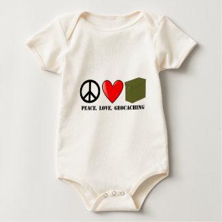 平和、愛、Geocaching ベビーボディスーツ