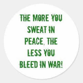 平和、戦争、汗、裁ち切り ラウンドシール