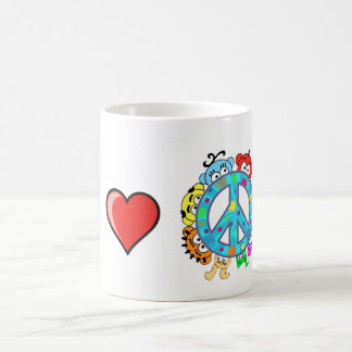 平和: 私は平和および惑星のピーカブーを愛します コーヒーマグカップ