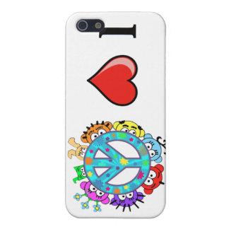平和: 私は平和および惑星のピーカブーを愛します iPhone 5 CASE