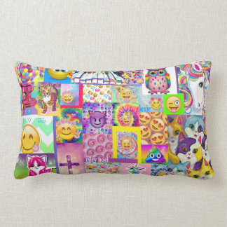 平和Emojiの枕ピンクの紫色の女の子部屋の虹 ランバークッション