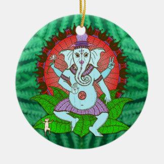 平和Ganeshの踊り セラミックオーナメント