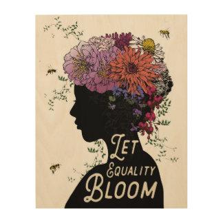 平等の開花-木製のパネル--を許可して下さい ウッドウォールアート