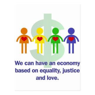 平等、正義および愛に基づく経済 ポストカード