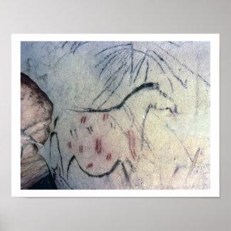 平行ラインmarkiを持つ妊娠したロバの姿 ポスター