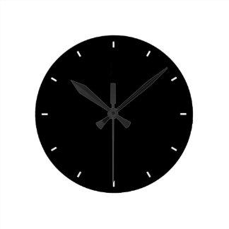 平野およびシンプルで全黒く無地ので黒い柱時計 ラウンド壁時計