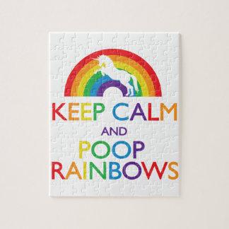 平静およびウンチの虹のユニコーンを保って下さい ジグソーパズル