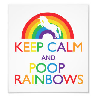 平静およびウンチの虹のユニコーンを保って下さい フォトプリント
