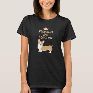 平静およびコーギーのオンかわいいおもしろい犬を飼って下さい Tシャツ