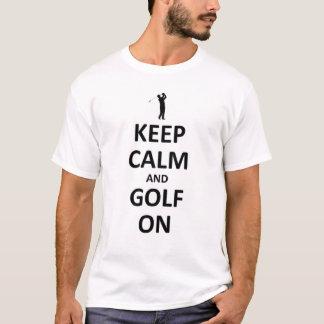 平静およびゴルフを保って下さい Tシャツ