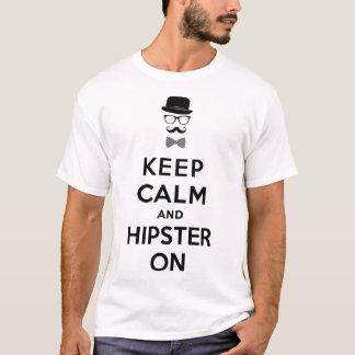 平静およびヒップスターを保って下さい Tシャツ