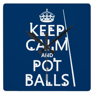 平静およびポットの球を保って下さい(スヌーカーかプール) スクエア壁時計
