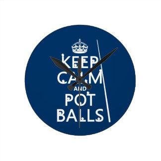 平静およびポットの球を保って下さい(スヌーカーかプール) ラウンド壁時計