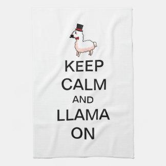 平静およびラマを飼って下さい キッチンタオル
