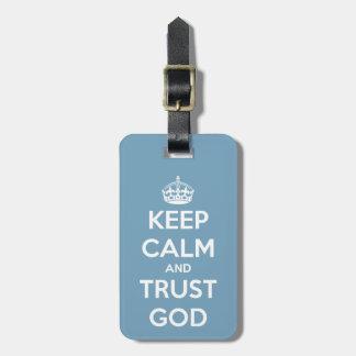 平静および信頼の神の青および白を保って下さい ラゲッジタグ