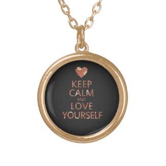 平静および愛あなた自身を保って下さい ゴールドプレートネックレス