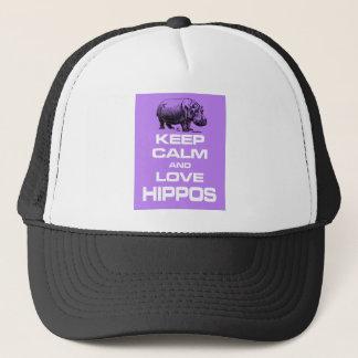 平静および愛カバのHippotamusのデザインの紫色を保って下さい キャップ