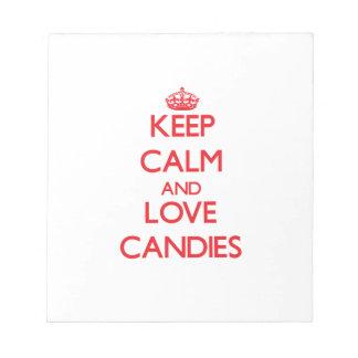 平静および愛キャンデーを保存して下さい ノートパッド