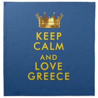 平静および愛ギリシャのスローガンを保って下さい ナプキンクロス