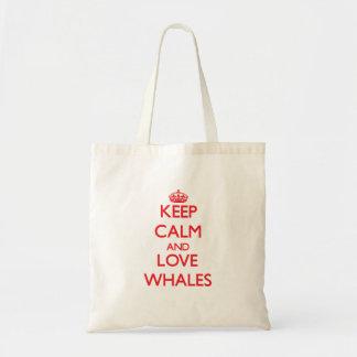 平静および愛クジラを飼って下さい トートバッグ