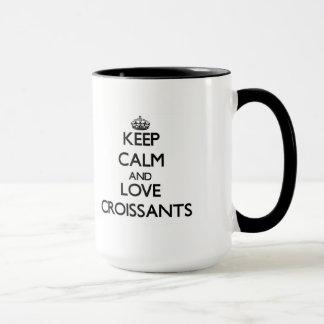 平静および愛クロワッサンを保存して下さい マグカップ