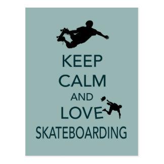 平静および愛スケートボードをするユニークなプリントを保って下さい 葉書き