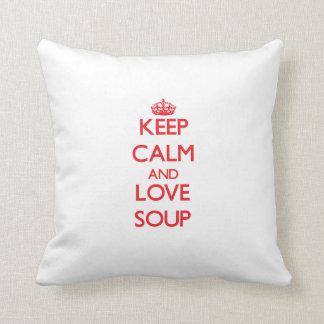 平静および愛スープを保存して下さい クッション