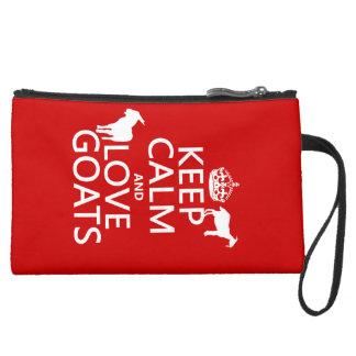 平静および愛ヤギを飼って下さい スエードクラッチ